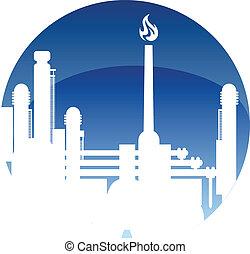 fűtőanyag, finomító, iparág, ikon