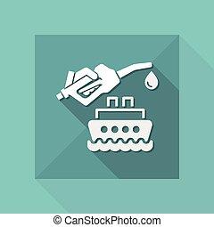 fűtőanyag, vektor, -, csónakázik, ikon