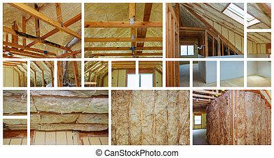 fűt, elszigeteltség, alatt, új, előre gyártott, épület, noha, ásvány, gyapjú, és, wood., fénykép, kollázs