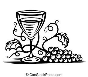 fűzfa, pohár bor, szőlőtőke, fekete