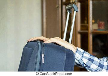 f, 旅行, 手, 大きい, 始めなさい, スーツケース, 把握, 人