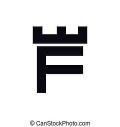 f, 頭文字, ベクトル, テンプレート, ロゴ, 城, 要塞