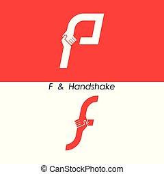 f, -, 편지, 떼어내다, 아이콘, &, 손, 로고, 디자인