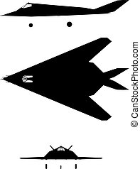 F-117 - Silhouette of jet-fighter F-117