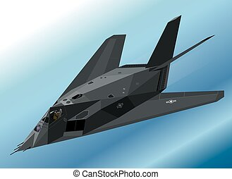 F-117 Stealth Fighter Flying - Detailed Vector Isometric...