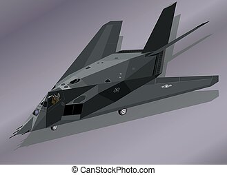 F-117 Stealth Fighter on the Ground - Detailed Vector...