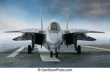 f-14, 噴气式飛机戰士, 上, an, 航空母艦, 甲板, 觀看, 從, 前面