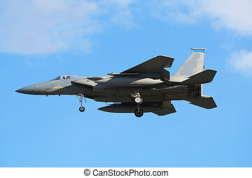 F-15 Eagle - Military airforce F-15 jet plane landing
