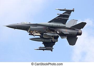 F-16 jet - Armed F-16 fighter jet from below
