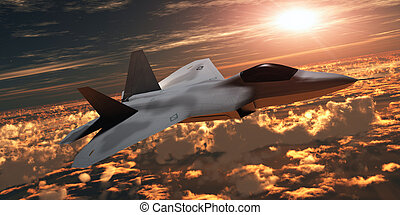 F-22 Fighter Jet at Sunset - An F-22 fighter jet flies at an...