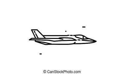 F-35 line icon is one of the Aircraft icon set. File contains alpha channel. From 2 to 6 seconds - loop.