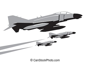 F-4 Phantom 2. jet fighters in the sky. vector image for illustration