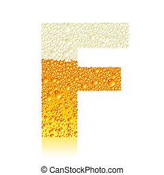 f, alphabet, bière