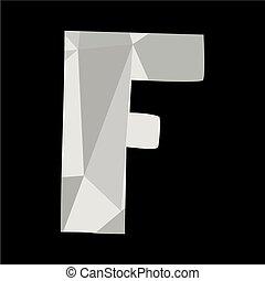 F alphabet letter isolated on black