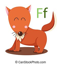 F alphabet vector animal