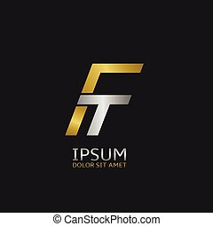 F and T - Golden F and silver T letters monogram logo