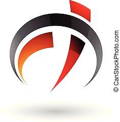 f, automobile, modellato, illustrazione, vettore, calibro, t, lettera, arancia, nero rosso