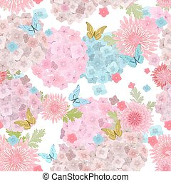 f, butterflies., seamless, textuur, delicaat, floral, bloemen