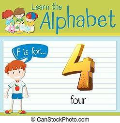 f de carta, flashcard, cuatro