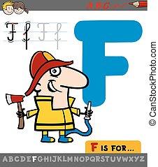 f, dessin animé, lettre, pompier