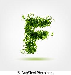 f, eco, desenho, letra, verde, seu