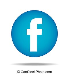 f, facebook, botão, polegar cima, vetorial