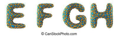 f, fait, render, briller, h, 3d, e, metallic., g, doré, ensemble, lettre, réaliste