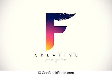 F Feather Letter Logo Icon Design With Feather Feathers Creative Look Vector Illustration