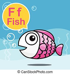 F Fish color cartoon and alphabet for children to learning vector illustration eps10