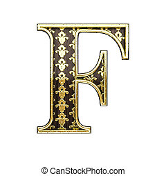 f golden letter 3d illustration