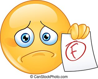 Disappointed emoticon showing a paper with F failure grade