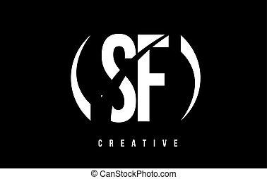 f, hintergrund., s, design, brief, logo, weißes, sf, schwarz