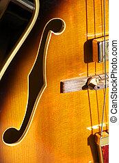 F hole on Jazz guitar