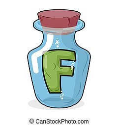 F in bottle for experiments. Letter in vessel. Laboratory research vessel. Vector illustration letter f for chemical tests.
