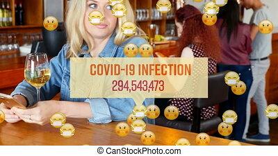 f, infection, verre, covid19, nombre, boire, sur, icônes, ...