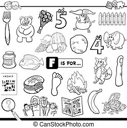 F is for educational task coloring book - Black and White ...