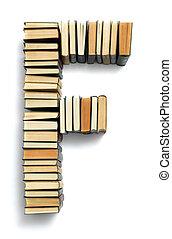 f letra, formado, de, a, página, extremidades, de, livros