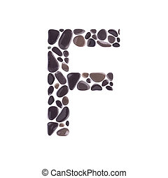 F Letter made of black beach stones isolated on white background