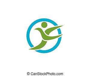 F letter people logo design template