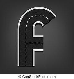 F letter. Road font. Vector illustration in eps10