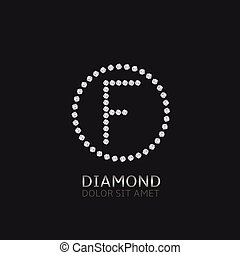 F letter with diamonds