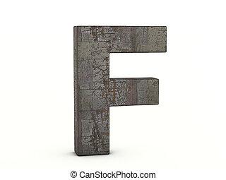f, lettre, métal rouillé