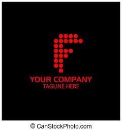 F logo template, F letter, Red logo design. vector