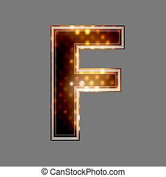 f, lumière, texture, incandescent, lettre, noël