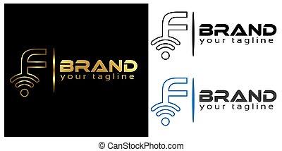 F online logo template, stock logo template.