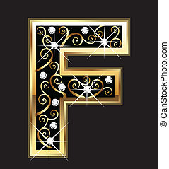 f, oro, carta, con, swirly, ornamentos