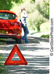 f, pays, chauffeur, signe, bas, cassé, avertissement, femme, route