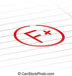 F plus examination result grade red latter mark.