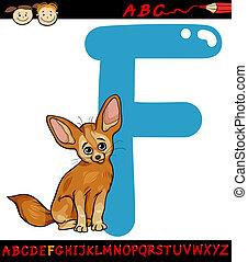 f, renard, illustration, fennec, lettre, dessin animé