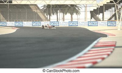 f1, course, désert, circuit, voiture